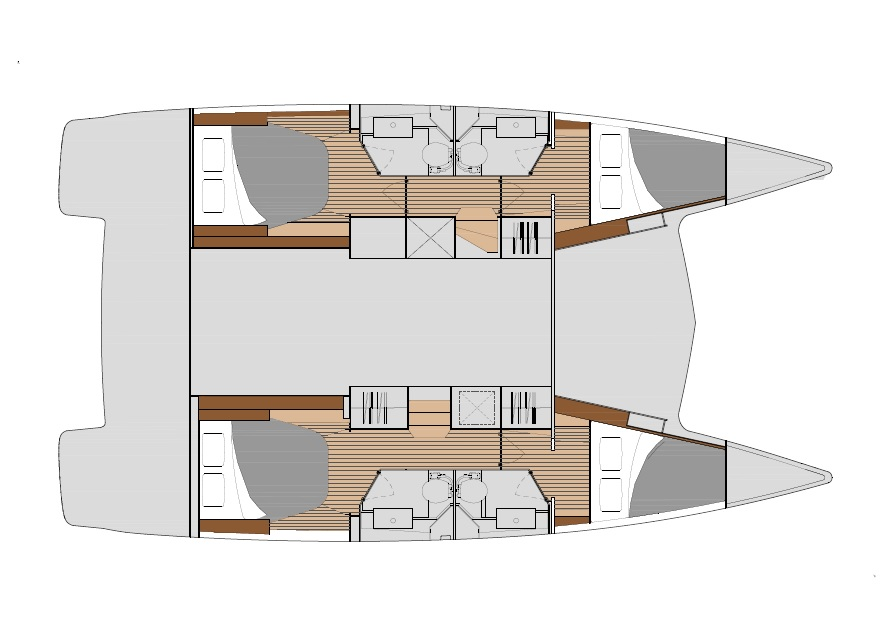 Lucia 40 - Layout with 4 cabins & 4 bathrooms
