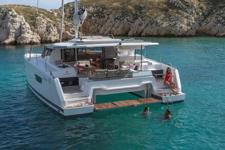 FP Astrea 42 - Croatia Charter Catamaran Swiming platform