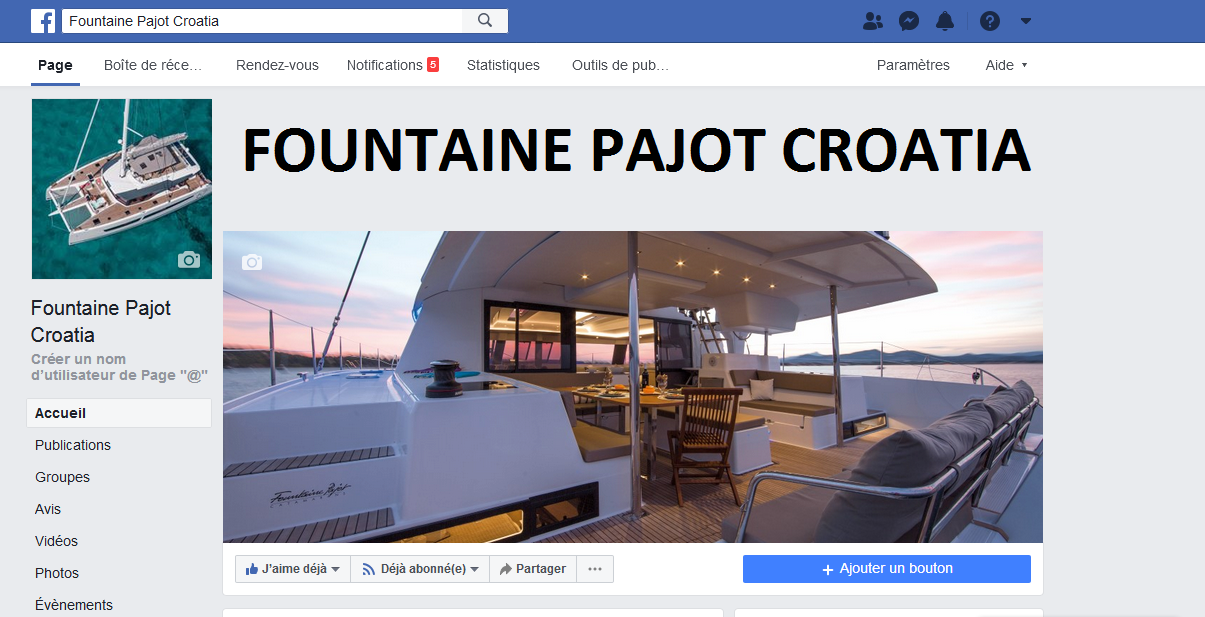 Facebook Fountaine Pajot Croatia